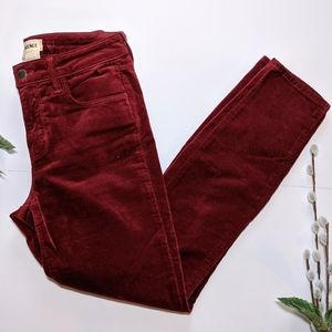 L'agence red velour style pants size 25